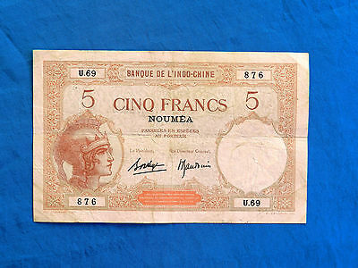 1926 French New Caledonia 5 Francs Banknote *Noumea*    *P-36b.2*       *VF*