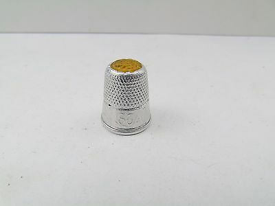 Vintage Antique Lovelace Soap Glass Top Yellow Thimble Sewing Thimble Tool