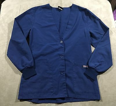 Cherokee Workwear Womens Long Sleeve Scrub Top Size XS Blue
