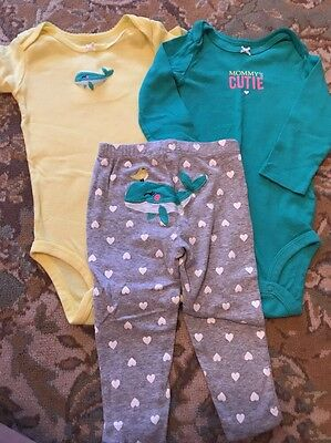 Barely Worn Baby Girl Carter's 3 Piece Outfit Size 12 Months