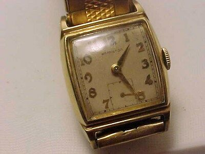 Antique 1940 Mens Hamilton 17 Jewel 14K Gold Filled Wristwatch / Running Great