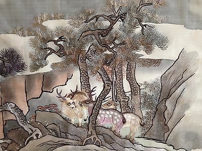 Vintage 20th c Chinese very large hand painting and silk embroidery of stags