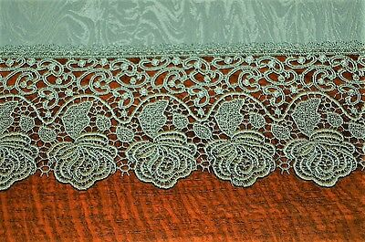 Dainty Damask & Plauener Lace Roses In Green! German Tablecloth *wow Worthy*