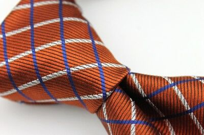NWT BROOKS BROTHERS Makers Orange Blue White Stripe 100% Silk TIE Made USA NEW