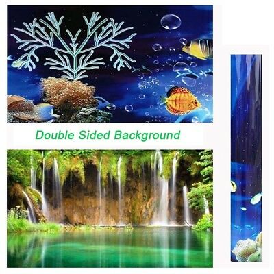 3~9FT Double Sided Aquarium Fish Tank Background Backdrop Reptile Marine Poster