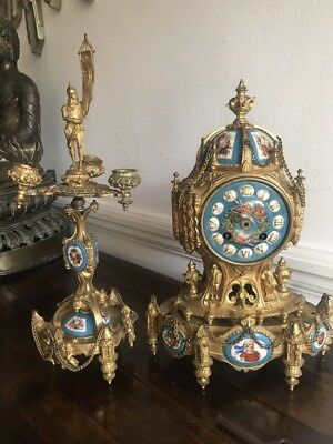 Antique 19th C French Bronze Mantel Clock Garniture Candelabra Sevres Porcelain