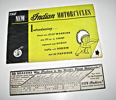 Indian Motorcycles 1947 Foldout Brochure~Warrior~Chief~Scout~Arrow~Papoose