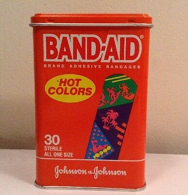 New In Tin Band-Aid Hot Colors 1992 J&J Collectible Rare Johnson USA NOS Vtg