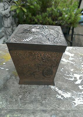 Vintage Oriental Japanese White Metal Box With Lid