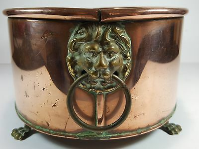 Lovely Vintage Oval Copper Planter With Brass Lion Handles & Claw Feet