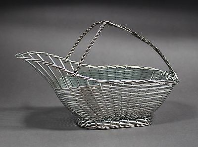 Vintage silver plate basket wine holder pouring woven country style retro