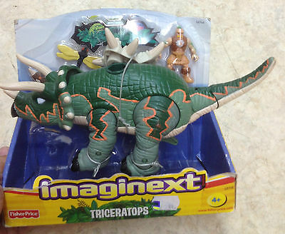 Fisher Price Imaginext Triceratops Dinosaur with Saddle & Caveman Minifigure New