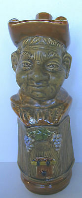 Vintage Friar 1761 Brown Bust On Wine Barrel Cask Decanter Made In Italy
