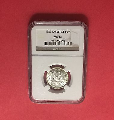 PALESTINE -UNCIRCULATED 50 MILS 1927 SILVER COIN UNC NGC MS63..rare grading.