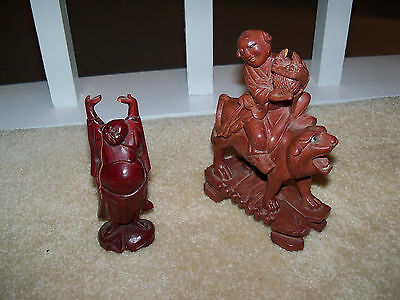 2 Vintage  Buddha Carved Wood Man Sculpture Statue Foo Dog Fu