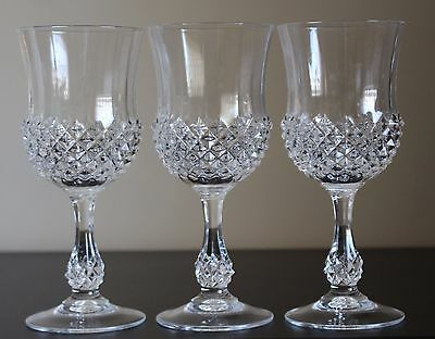 Vintage Set Of 3 CRIS D'ARQUES / DURAND ANCENIS Crystal Wine/ Water Goblets –EUC