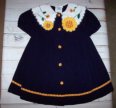 Bonnie Jean Navy Dress with Embroidered Sunflower Collar size 3T