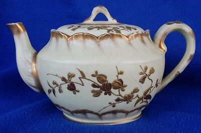 Antique Teapot Unknown Maker But Has Mark Off White Heavy Gold Floral Crazing