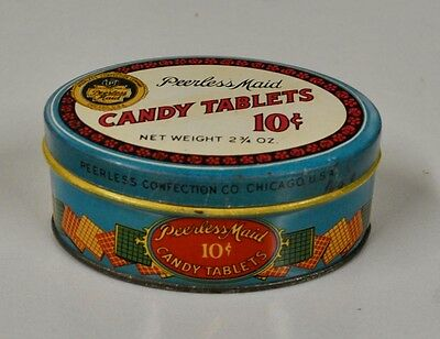 "Vintage 1930 Peerless Maid ""Candy Tablets 10 Cent"" Advertising Tin - Chicago"