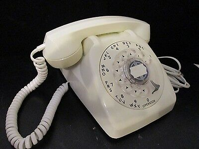Vintage White Automatic Electric Rotary Desk Phone - WORKS!