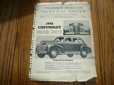 1941 Chevrolet Thompson Technical Review Pages - Special De Luxe Master De Luxe