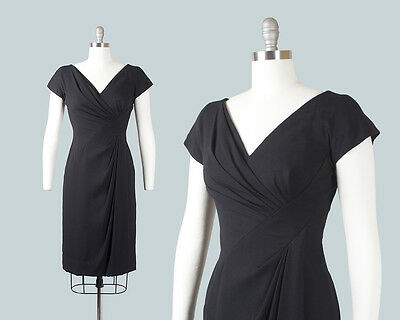 Vintage 1950s Dress | 50s DOROTHY O'HARA Black Rayon Draped Cocktail Party Dress