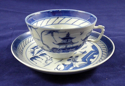 Antique Chinese Export Porcelain Canton Tea Cup and Saucer Set