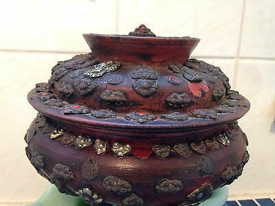 Antique Tibet NepalBurl Wood Sugar Bowl artisan Rustic collectible Hand Painted
