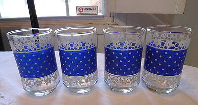 """Libbey Juice Glasses Blue with White Lace & Pollka Dots 6 oz. 3 5/8"""" tall 4"""