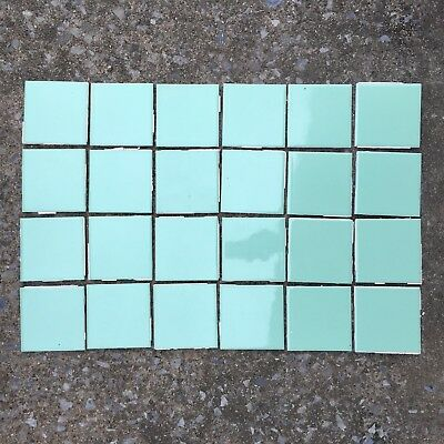24 Used Vtg Seafoam Green Wenczel 4 5/16 Inch Square Tile Mid Century Modern