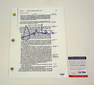 John Lewis Selma March Signed Autograph Civil Rights Voting Act Psa/dna Coa