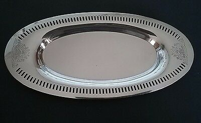Beautiful Silver-plated  Vintage WMA Rogers Laurel Pattern Long Oval Tray