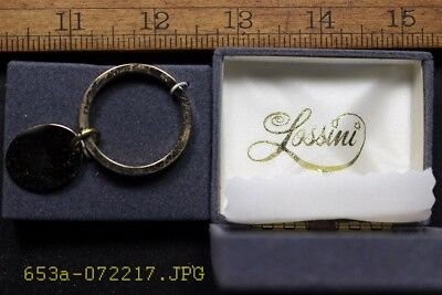 NOS c.1950 Lossini Bright Gold Tone Key Chain with Oval Engraving Plate