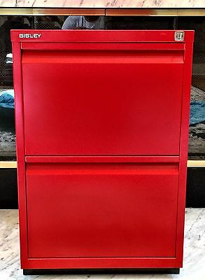 Bisley red Two Drawer File Cabinet WITH Base  (LAST TWO)