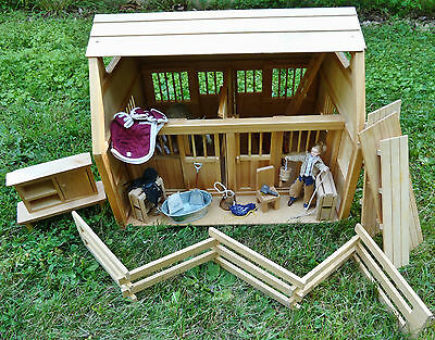 Large (Breyer Size Horse) Children's Wooden Toy Horse Stable Barn w/ Accessories