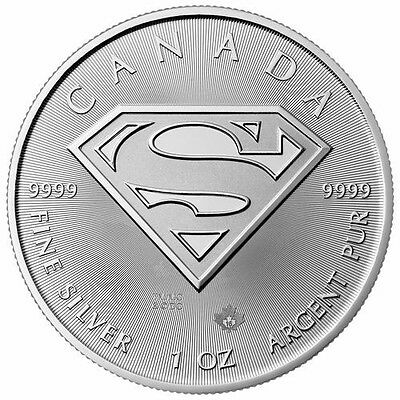 2016 Silver Canadian $5 SUPERMAN S-Shield .9999 - 1 oz Coin