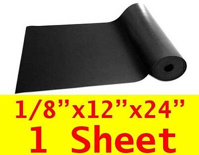 "1/8"" thick Neoprene Rubber Sheet 12"" x 24"" Long 60 Duro Black FREE USA SHIPPING"