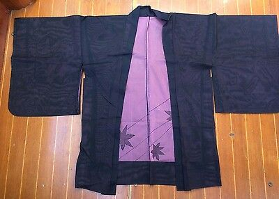 Fab Black And Pink Sheer Vintage Japanese Haori With Flower Pattern