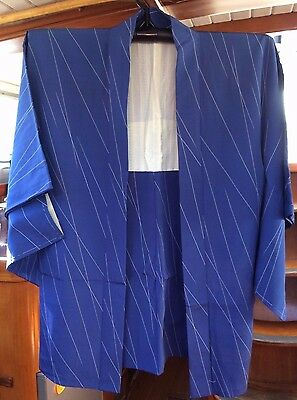 Fab Blue With White Line Pattern Vintage Japanese Haori