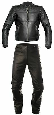 RST RETRO/INTERSTATE 2PC BLACK Motorcycle Leather Jacket & Trousers Cruiser