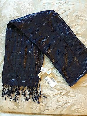 Childrens Place Girls Shiny Fringe Scarf Navy Silver NWT TCP