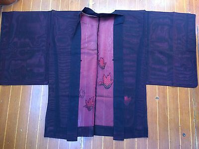 Fab Black And Red Sheer Vintage Japanese Haori With Tulip Flower Pattern