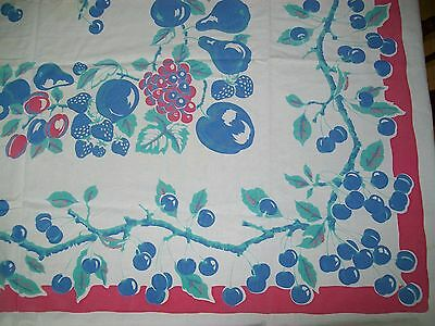 Vintage Tablecloth Blue & Red Fruit Cherries
