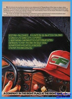 1986 Consolidated Freightway CF Art Semi Tractor Trailer Rig Dash Trucker Hat Ad