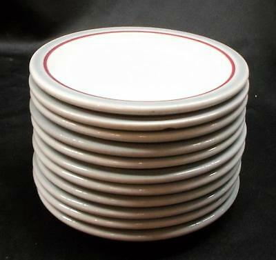 Set of 11 Syracuse China 'Gray & Red Stripes' Saucers - No Reserve