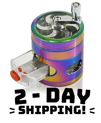 Large Rainbow Grinder Herb/Spice 2.5 inch Magnetic Crusher With Crank & Drawer