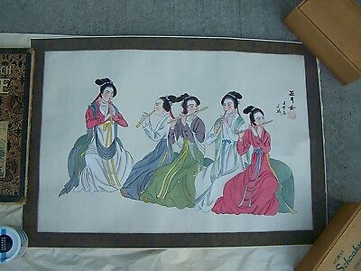 Antique Signed Chinese Paper Painting of 5 Women Playing flutes