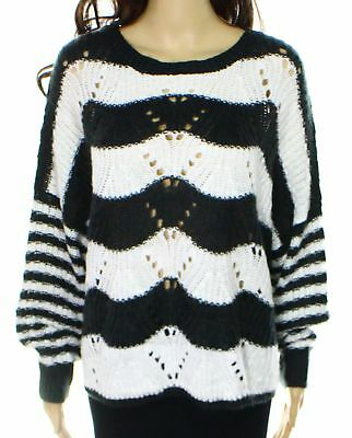 Jessica Simpson NEW Black White Womens Size XL Scoop Neck Knit Sweater $59 401