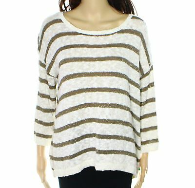INC NEW Beige Buttercream Womens Size Large L Striped Scoop Neck Sweater $69 409