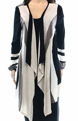 INC NEW Black Taupe Womens Size Small S Flyaway Knit Cardigan Sweater $69 413